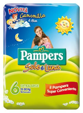 Pampers Sole&Luna Extralarge Misura 6 (15-30kg) 16 Pannolini